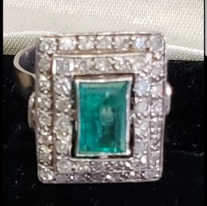 Jewelry - Huge Natural Emerald and Old cut Diamonds Ring